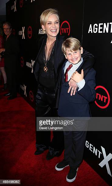 Actress Sharon Stone and son Laird Vonne Stone attend the premiere of TNT's Agent X at The London West Hollywood on October 20 2015 in West Hollywood...