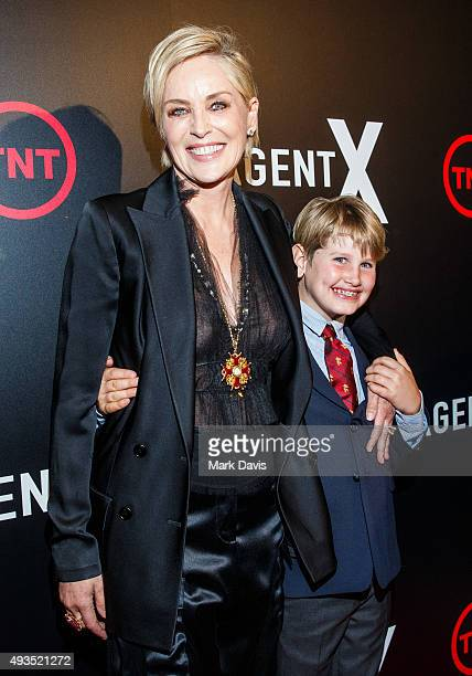 Actress Sharon Stone and son Laird Vonne Stone attend the premiere of TNT's 'Agent X' at The London West Hollywood on October 20 2015 in West...