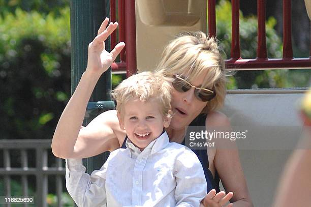 Actress Sharon Stone and son Laird Vonne Stone sighting on April 29 2009 in Beverly Hills California