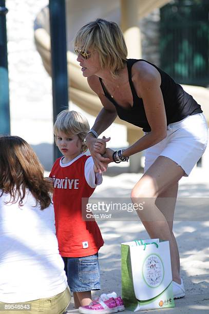 Actress Sharon Stone and son Laird Vonne Stone sighting on July 31 2009 in Beverly Hills California