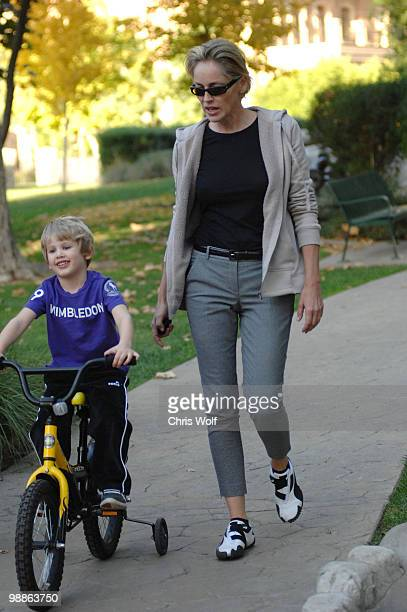 Actress Sharon Stone and son Laird Vonne Stone sighting on November 25 2009 in Beverly Hills California