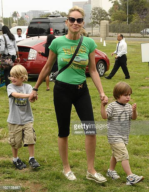 Actress Sharon Stone and sons Laird Vonne Stone and Quinn Kelly Stone attend the 21st annual A Time For Heroes celebrity picnic benefit at Wadsworth...