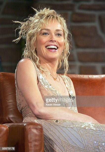 Actress Sharon Stone appears at The Late Late Show with Craig Ferguson at CBS Television City on October 20 2005 in Los Angeles California