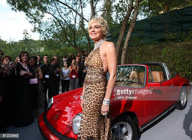 Actress Sharon Stone arrives at amfAR's Cinema Against AIDS 2008 benefit held at Le Moulin de Mougins during the 61st International Cannes Film...