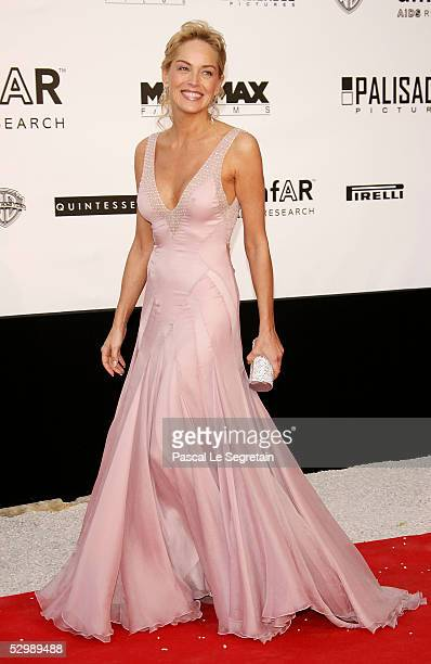 Actress Sharon Stone arrives at 'Cinema Against AIDS 2005' the 12th annual event in aid of amfAR at Le Moulin de Mougins at the 58th Cannes Film...