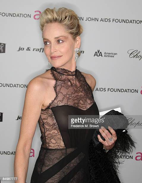 Actress Sharon Stone arrives at the 17th Annual Elton John AIDS Foundation's Academy Award Viewing Party held at the Pacific Design Center on...