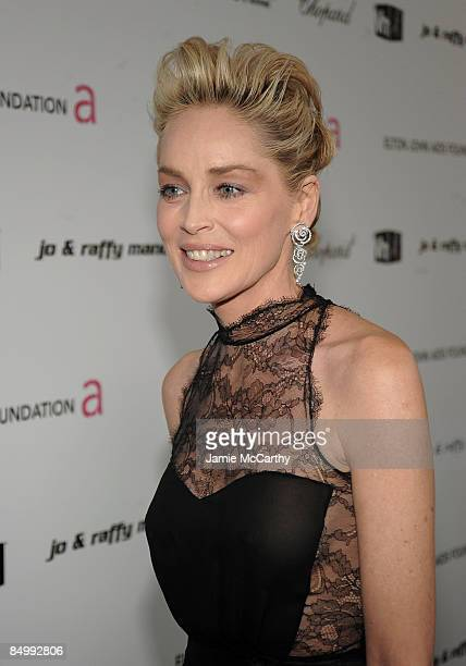 Actress Sharon Stone arrives at the 17th Annual Elton John AIDS Foundation Oscar party held at the Pacific Design Center on February 22 2009 in West...
