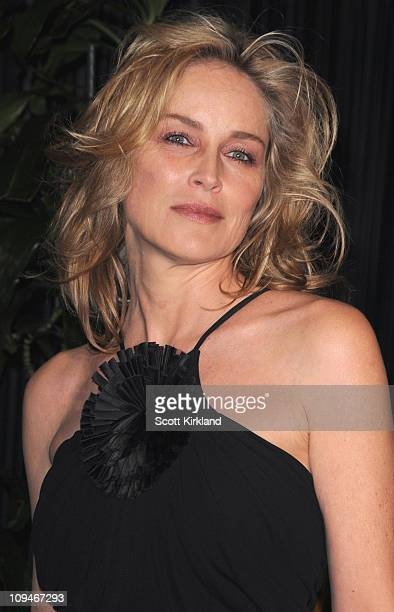 Actress Sharon Stone arrives at the Chanel Charles Finch PreOscar Dinner Celebrating Fashion Film at Madeo Restaurant on February 26 2011 in Los...