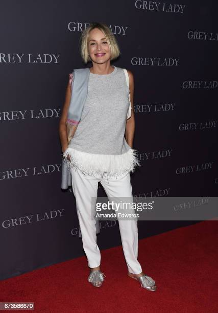 Actress Sharon Stone arrives at the premiere of Pataphysical Production's 'Grey Lady' at The Landmark on April 26 2017 in Los Angeles California