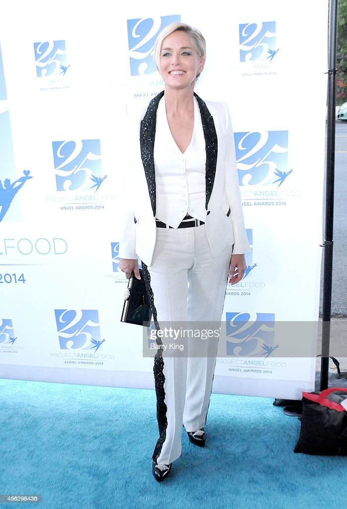 Actress Sharon Stone arrives for Project Angel Food Celebrates 25 Years With 2014 Angel Awards at Project Angel Food on September 6, 2014 in Los Angeles, California.