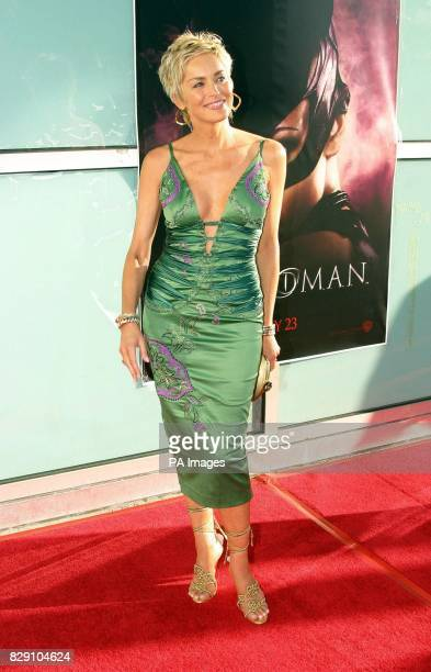 Actress Sharon Stone arrives for the premiere of her latest film Catwoman held at the Cinerama Dome Theatre Los Angeles USA