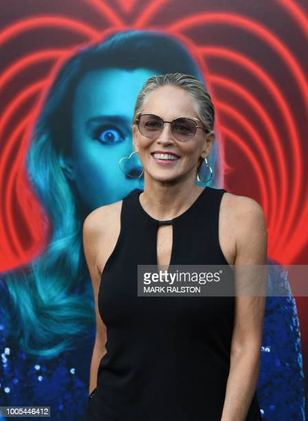 US actress Sharon Stone arrives for the premiere of Lionsgate's The Spy Who Dumped Me at the Fox Village Theater in Los Angeles California on July 25...