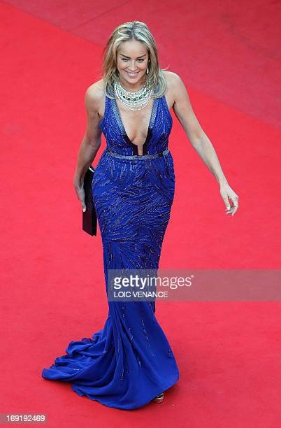 US actress Sharon Stone arrives on May 21 2013 for the screening of the film 'Behind the Candelabra' presented in Competition at the 66th edition of...
