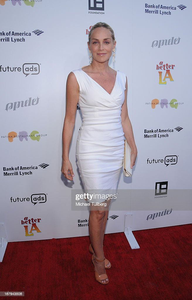 Actress Sharon Stone attends A Better LA's 'An Evening With A View' Annual Gala at AT&T Center on May 2, 2013 in Los Angeles, California.