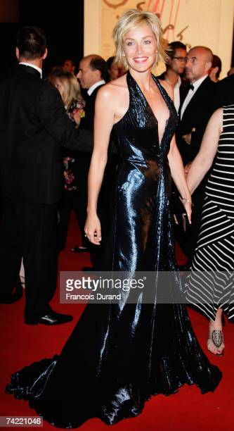 Actress Sharon Stone attends a party promoting the movie 'Le Scaphandre Et Le Papillon' during the 60th International Cannes Film Festival on May 22,...