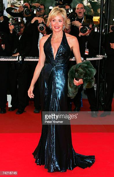 Actress Sharon Stone attends a premiere promoting the film 'Le Scaphandre Et Le Papillon' at the Palais des Festivals during the 60th International...