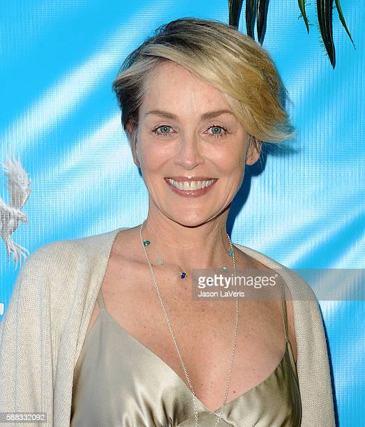 Actress Sharon Stone attends a special event for UN SecretaryGeneral Ban Kimoon on August 10 2016 in Los Angeles California