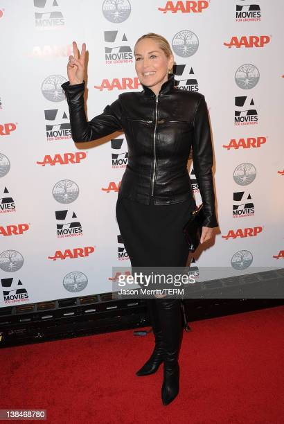 Actress Sharon Stone attends AARP Magazine's 11th Annual Movies for Grownups Awards Gala at the Beverly Wilshire Four Seasons Hotel on February 6...