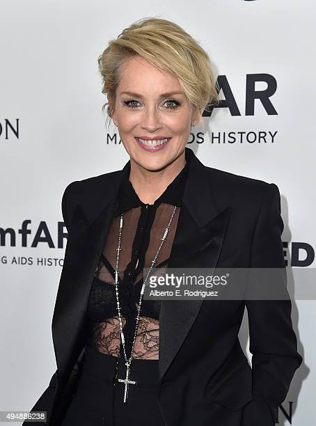 Actress Sharon Stone attends amfAR's Inspiration Gala Los Angeles at Milk Studios on October 29 2015 in Hollywood California