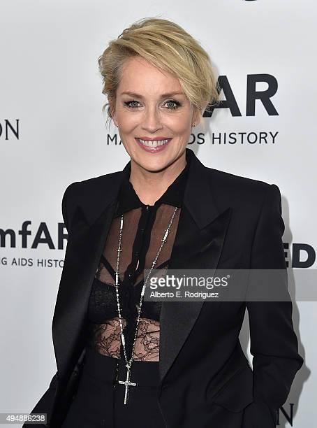 Actress Sharon Stone attends amfAR's Inspiration Gala Los Angeles at Milk Studios on October 29, 2015 in Hollywood, California.