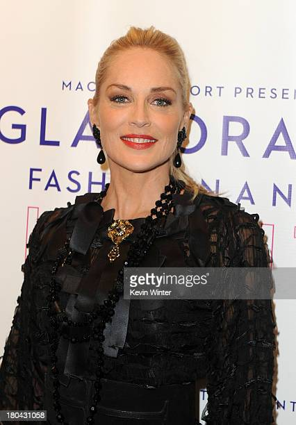 Actress Sharon Stone attends Glamorama Fashion in a New Light benefiting AIDS Project Los Angeles presented by Macy's Passport at Orpheum Theatre on...