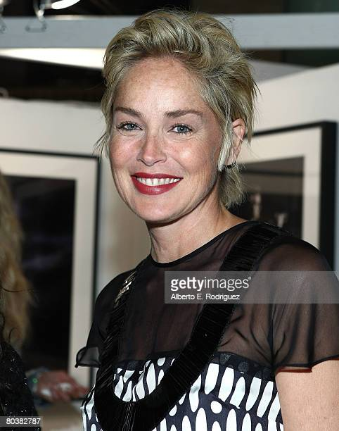 Actress Sharon Stone attends Harry Benson retrospective hosted by Architectural Digest at the Pacific Design Center on March 25 2008 in West...