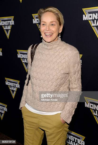Actress Sharon Stone attends Monster Jam Celebrity Night at Angel Stadium on January 16 2016 in Anaheim California
