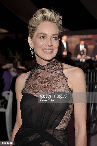 WEST HOLLYWOOD CA FEBRUARY 22 Actress Sharon Stone attends the 17th Annual Elton John AIDS Foundation Oscar party held at the Pacific Design Center...