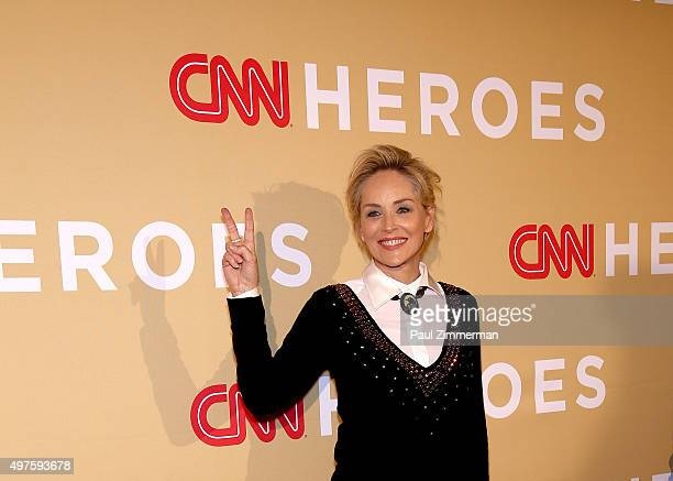 Actress Sharon Stone attends the 2015 CNN Heroes An AllStar Tribute at American Museum of Natural History on November 17 2015 in New York City
