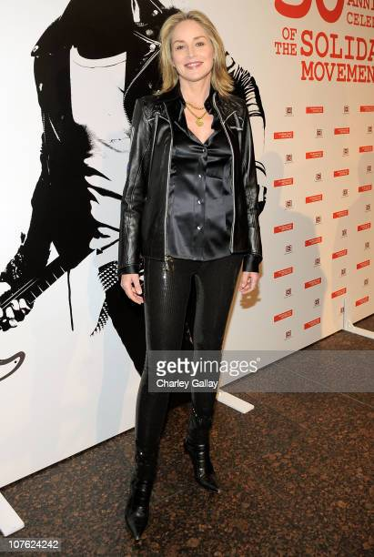 Actress Sharon Stone attends the 30th Anniversary of Solidarity Celebration in Los Angeles with Former President of Poland Lech Walesa at the Museum...