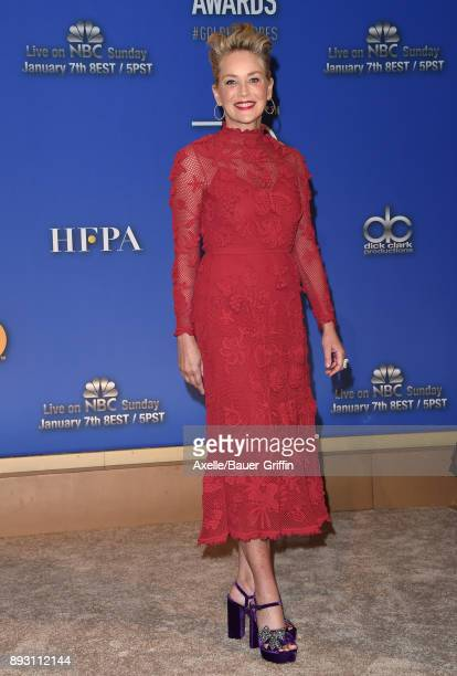 Actress Sharon Stone attends the 75th Annual Golden Globe Nominations Announcement at The Beverly Hilton on December 11 2017 in Los Angeles California