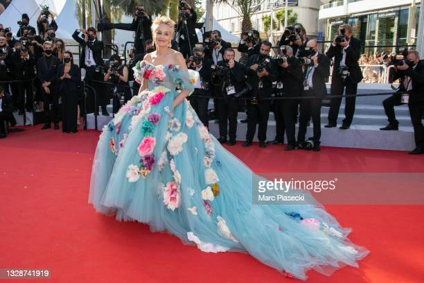 """Actress Sharon Stone attends the """"A Felesegam Tortenete/The Story Of My Wife"""" screening during the 74th annual Cannes Film Festival on July 14, 2021..."""