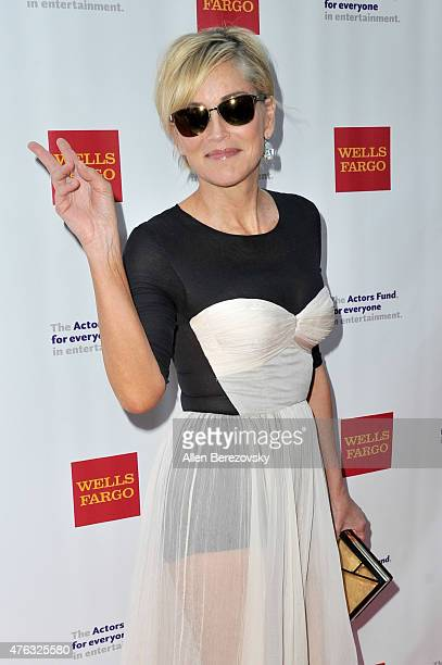 Actress Sharon Stone attends The Actors Fund's 19th Annual Tony Awards viewing party at Skirball Cultural Center on June 7, 2015 in Los Angeles,...