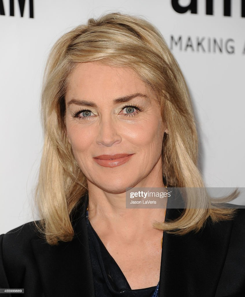 Actress Sharon Stone attends the amfAR Inspiration Gala at Milk Studios on December 12, 2013 in Hollywood, California.
