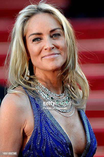 Actress Sharon Stone attends the 'Behind The Candelabra' premiere during The 66th Annual Cannes Film Festival at Theatre Lumiere on May 21 2013 in...