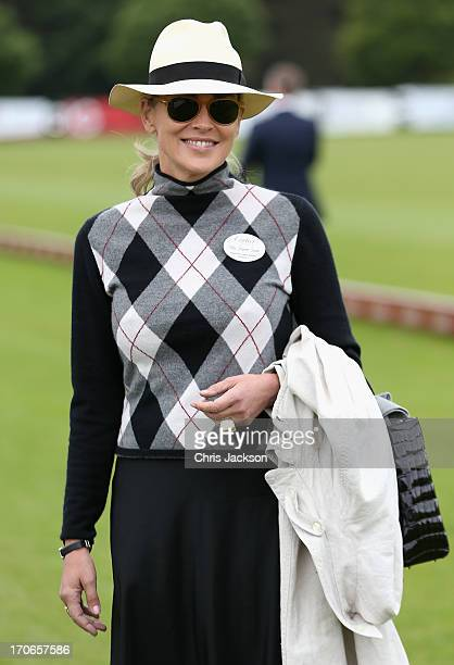 Actress Sharon Stone attends The Cartier Queen's Cup Final at Guards Polo Club on June 16 2013 in Egham England