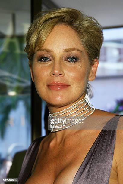 Actress Sharon Stone attends the grand opening of the Damiani store on Rodeo Drive and a press conference to launch a new campaign with actress...