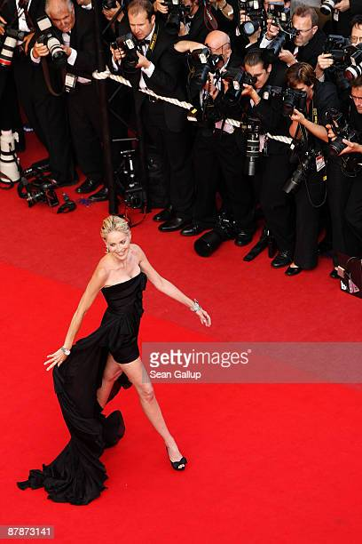 Actress Sharon Stone attends the Inglourious Basterds Premiere held at the Palais Des Festivals during the 62nd International Cannes Film Festival on...