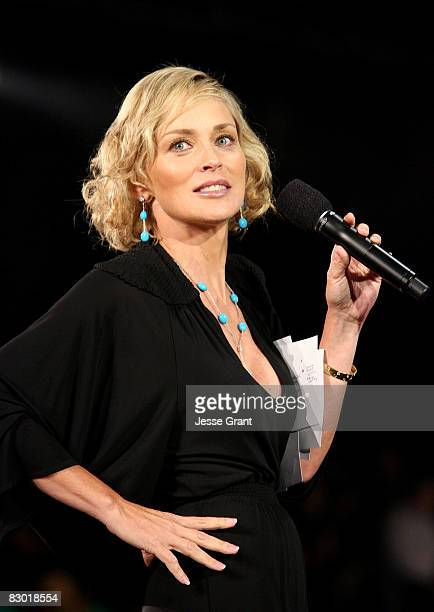 Actress Sharon Stone attends the Macy's Passport 2008 Gala held at Barker Hangar on September 26 2008 in Santa Monica California