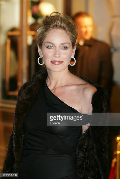 US actress Sharon Stone attends the opening of a Dior boutique on October 19 2006 in Moscow Russia