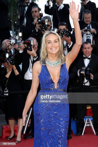 Actress Sharon Stone attends the Premiere of 'Behind the Candelabra' during the 66th Annual Cannes Film Festival at Palais des Festivals on May 21...