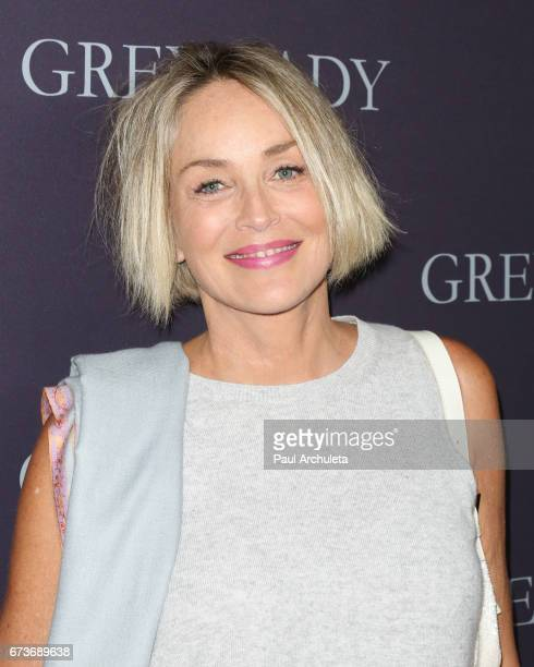 Actress Sharon Stone attends the premiere of 'Grey Lady' at The Landmark Theater on April 26 2017 in Los Angeles California