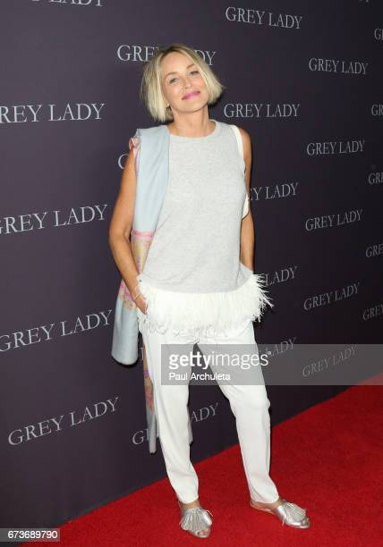 Actress Sharon Stone attends the premiere of Grey Lady at The Landmark Theater on April 26 2017 in Los Angeles California
