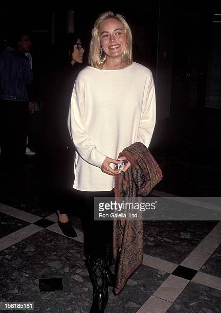 Actress Sharon Stone attends 'The Rapture' Century City Premiere on October 3 1991 at Cineplex Odeon Century Plaza Cinemas in Century City California