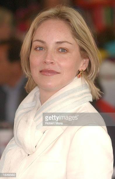 Actress Sharon Stone attends the Teen Line Food for Thought luncheon in her honor May 5 2002 in Manhattan Beach CA