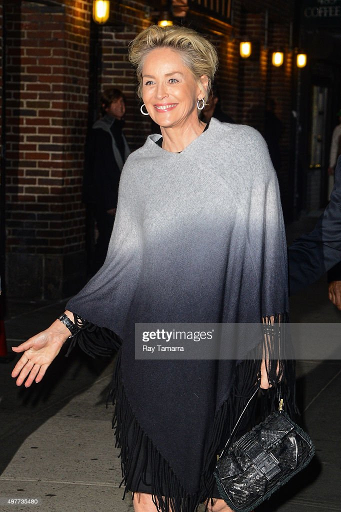 Actress Sharon Stone enters the 'The Late Show With Stephen Colbert' taping at the Ed Sullivan Theater on November 18, 2015 in New York City.