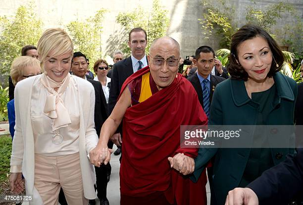 Actress Sharon Stone His Holiness the 14th Dalai Lama and Ann Curry attend The Lourdes Foundation Leadership in the 21st Century Event with His...
