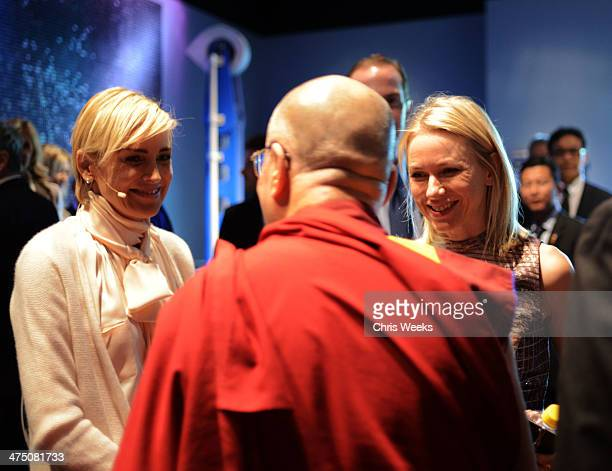 Actress Sharon Stone His Holiness the 14th Dalai Lama andactress Naomi Watts attend The Lourdes Foundation Leadership in the 21st Century Event with...