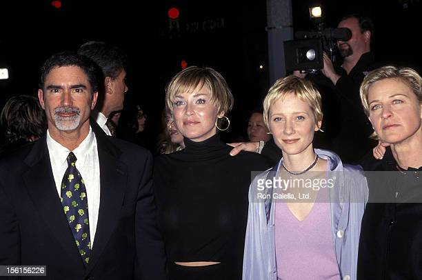 Actress Sharon Stone husband Phil Bronstein actress Anne Heche and comedienne/actress Ellen DeGeneres attend the Screening of HBO's Original Movie...