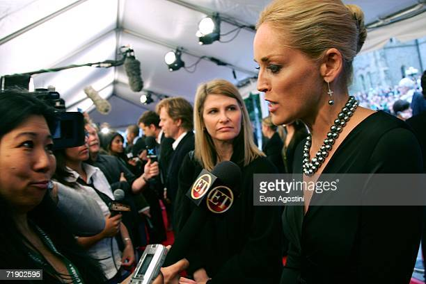 """Actress Sharon Stone is interviewed as she arrives at the Toronto International Film Festival gala presenation of the film """"Bobby"""" held at the Roy..."""